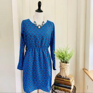 J CREW Blue Geometric Print Long Sleeve Dress